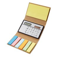 Papierowe etui z kalkulatorem i zestawem kartek samoprzylepnych