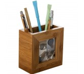 Bambusowy pojemnik na długopisy z ramką na zdjęcie