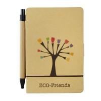 Notes Eko-Friends w formacie A6 z długopisem